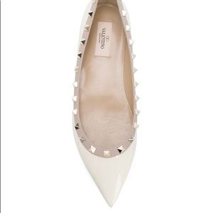 Valentino Rockstud Flat in Winter White